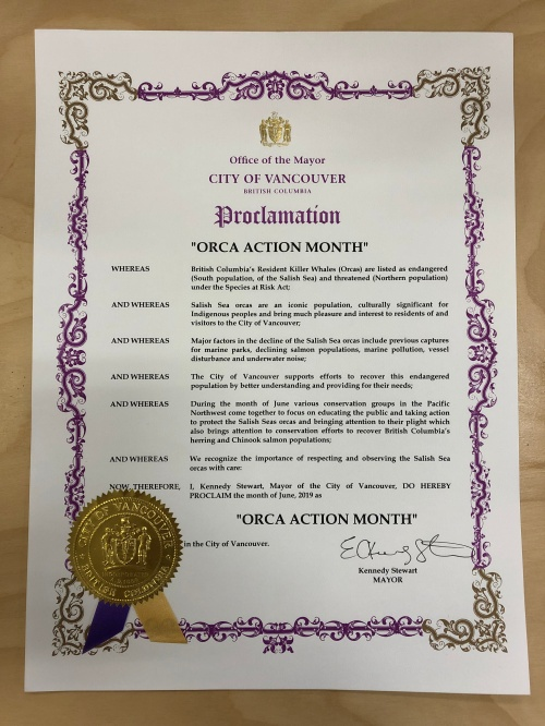 Orca Action Month 2019 - Vancouver Proclamation